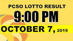 PCSO LOTTO RESULT 9PM (OCTOBER 7, 2019) 3D Swertres 2D EZ2 STL GAMES