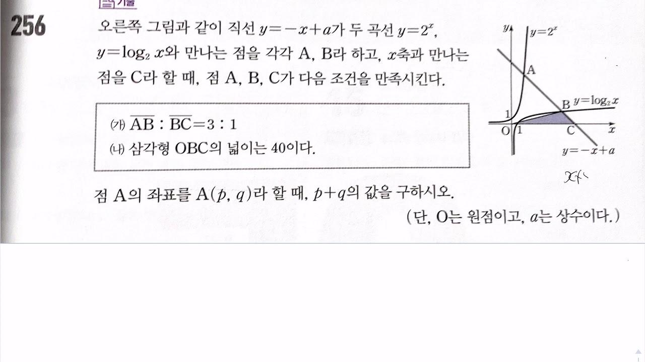 수1 수학중심 256번 지수 로그 함수 연습문제 - YouTube