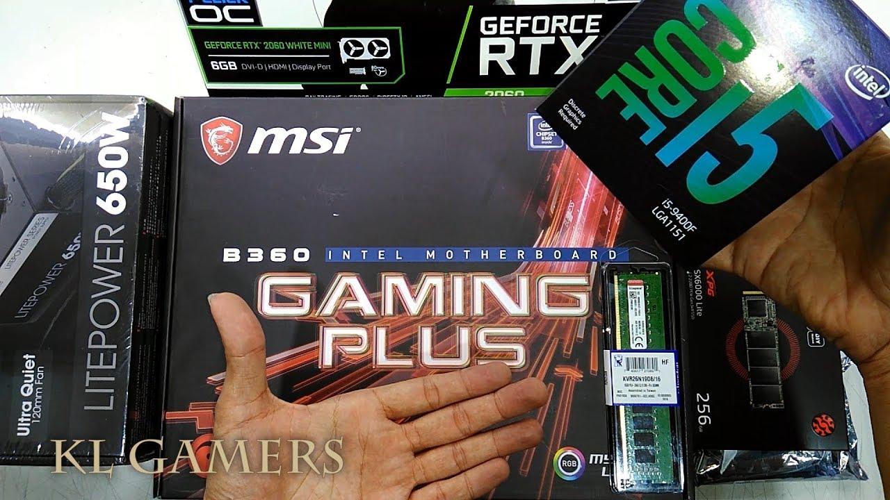 intel Core i5 9400f msi B360 GAMING PLUS XPG 256GB M.2 SSD GALAX RTX 2060 650W GAMING RIG 2019