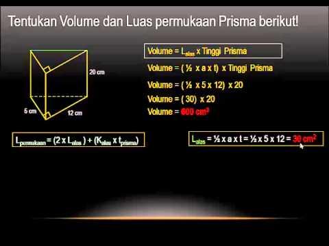 Cara Menghitung Volume dan Luas Permukaan Prisma YouTube