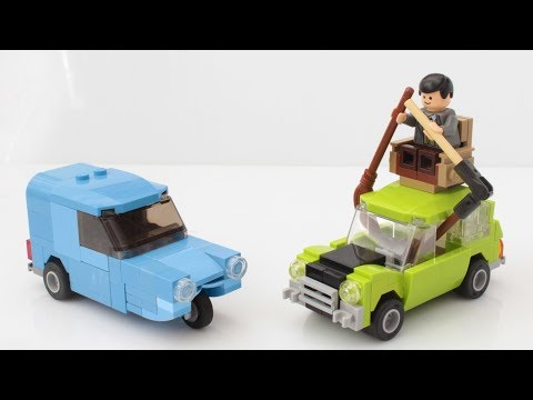 Lego Mr Bean Mini and blue Reliant car with instructions