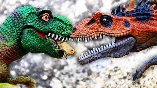 ДИНОЗАВРЫ. ОХОТА Динозавров новая серия 1 . Тираннозавр Рекс против Тигра и Леопарда. Игрушки ТВ(В новом мультике про Динозавров на русском - Голодные Динозавры охотятся на кузнечика, а затем на огромную..., 2016-08-28T04:40:21.000Z)