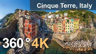 360°, Cinque Terre, Italy. 4K aerial video thumbnail