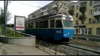 Вінниця. Площа Гагаріна. Трамвай Be 4/6 Mirage на маршруті №4. Епіз...