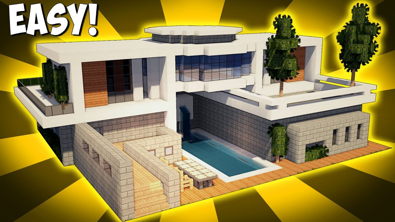 Minecraft how to build a large modern house tutorial for Big modern house designs