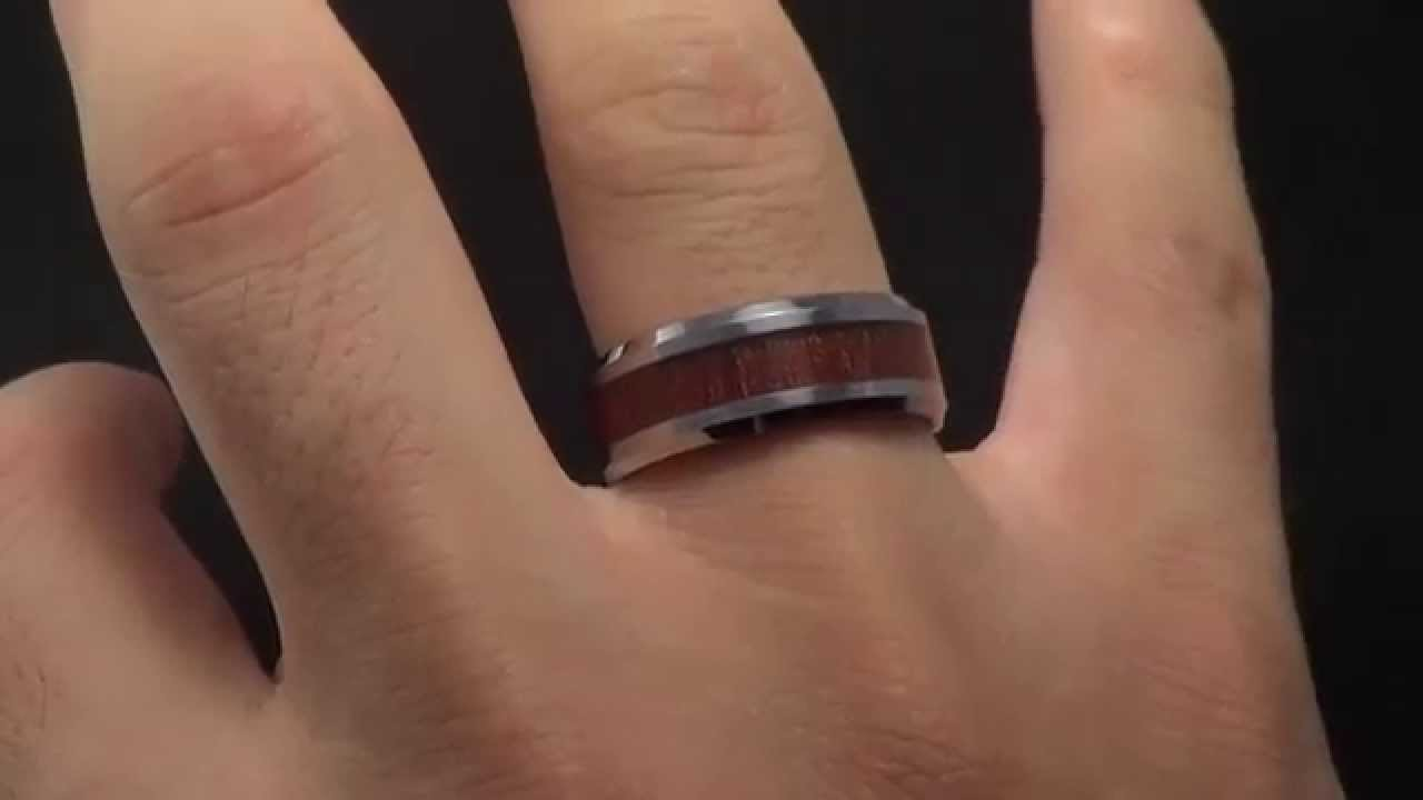 Mens Tungsten Alloy Wood Inlay Ring SelectMensJewelrycom YouTube