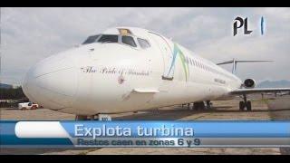 Explota turbina de avión luego de despegar de aeropuerto La Aurora