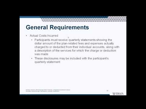 New 401k Fee Disclosure Rules in Effect | Webinar | Sikich LLP