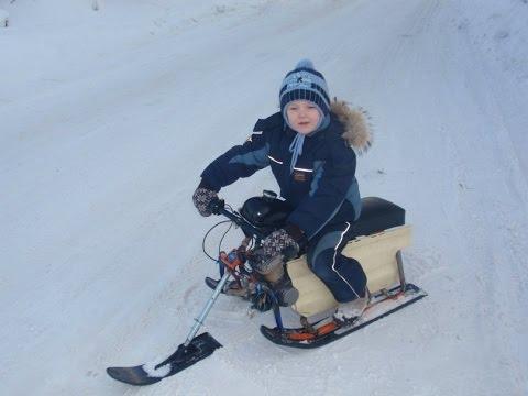 видео: детский снегоход, буран своими руками, прикол, как сделать