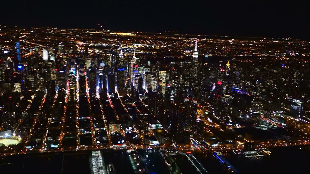 HDNew York NIGHT FLIGHT Central Park Upper Manhattan QUANTUM OF THE SEAS CITY LIGHTS