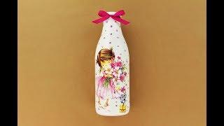 Decoupage bottle - Painted bottle - Decoupage tutorial - DIY painted glass - Decoupage for beginners