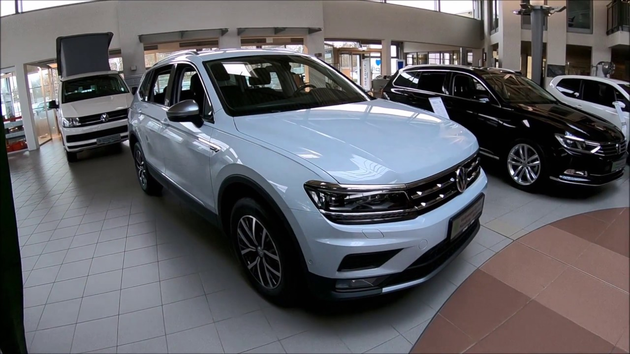 volkswagen vw tiguan allspace long comfortline 5 seats white silver colour walkaround. Black Bedroom Furniture Sets. Home Design Ideas