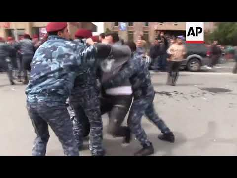 Police clash with protesters in Armenian capital over arrest of protest leader