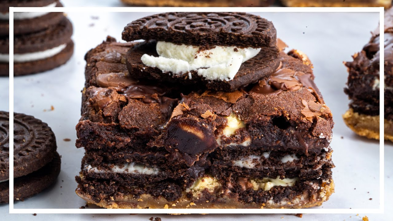 How to make SLUTTY BROWNIES 🤭 (Cookie Oreo Brownies) | Baking with Becky
