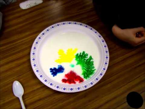 Buttermilk with food colouring and soap - YouTube