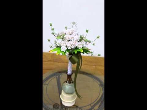 mulberry paper flower wedding bouquet Demo