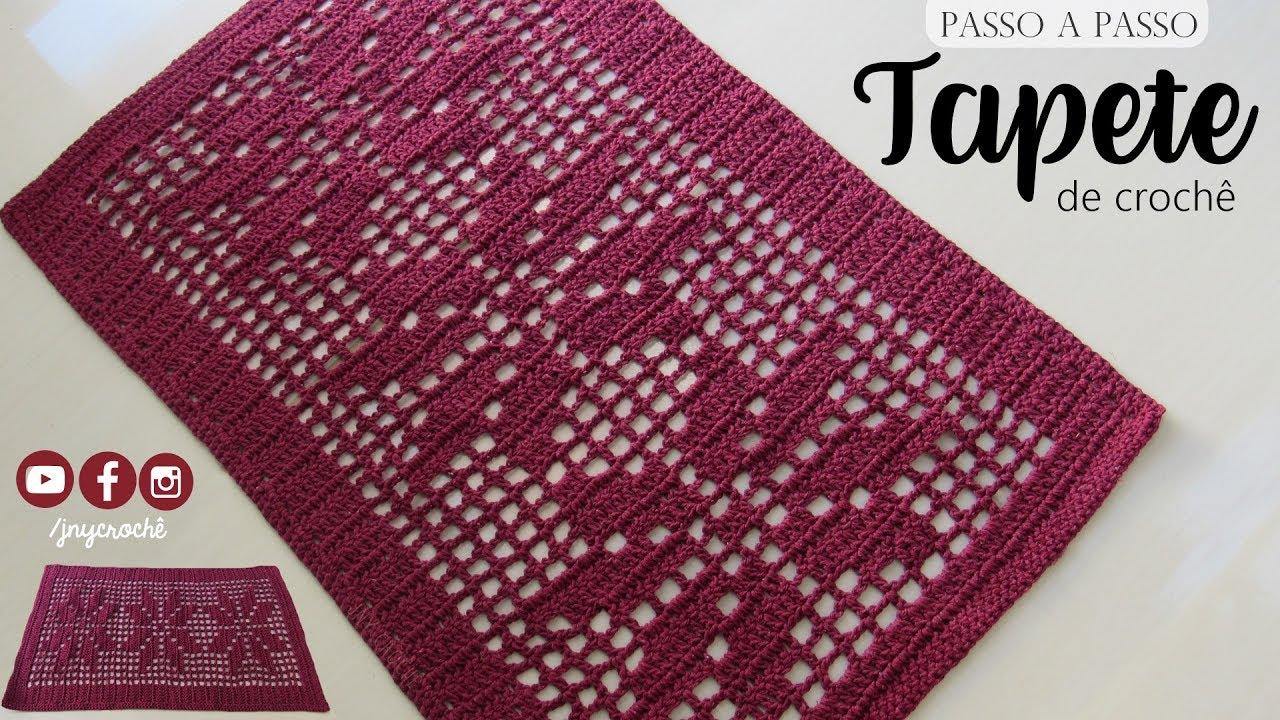 Tapete de crochê simples  Floral  JNY Crochê  YouTube -> Tapete Para Banheiro Croche Simples