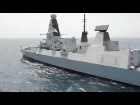 Royal Navy Type 45 Destroyer HMS Dragon (D35) in Action