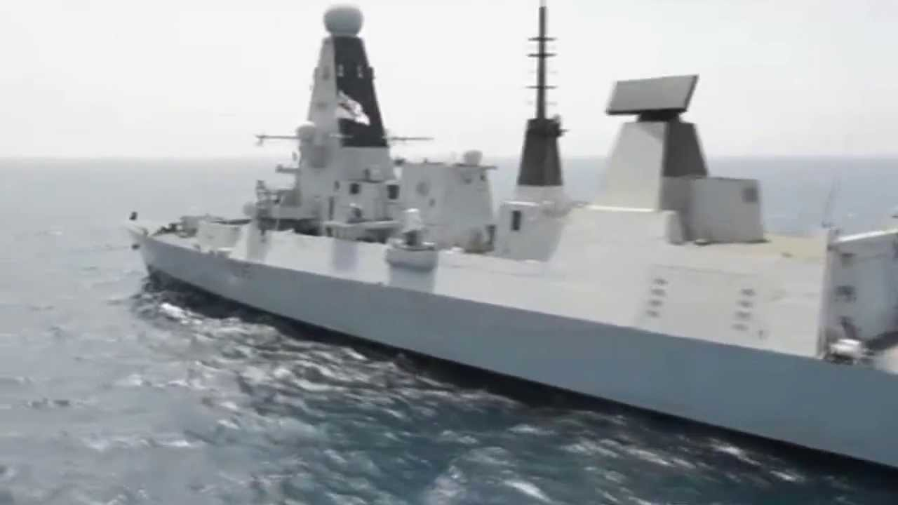 royal navy type 45 destroyer hms dragon d35 in action