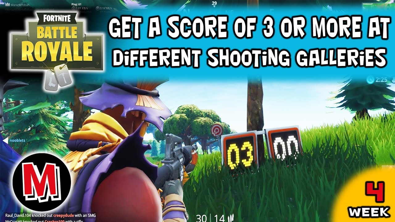 Get A Score Of 3 Or More At Different Shooting Galleries Fortnite