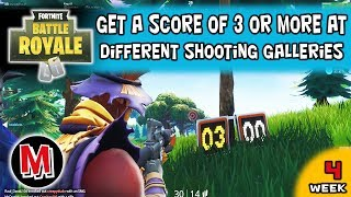Get a score of 3 or more at different Shooting Galleries Fortnite season 6 Week 4 Challenge