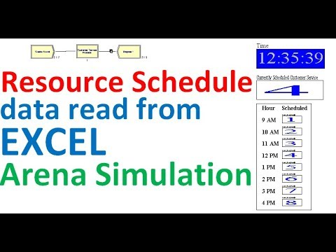 resource schedule data read from excel arena simulation excel