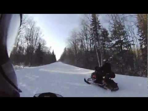 Fast snowmobile trail ride northern wi, michigan u