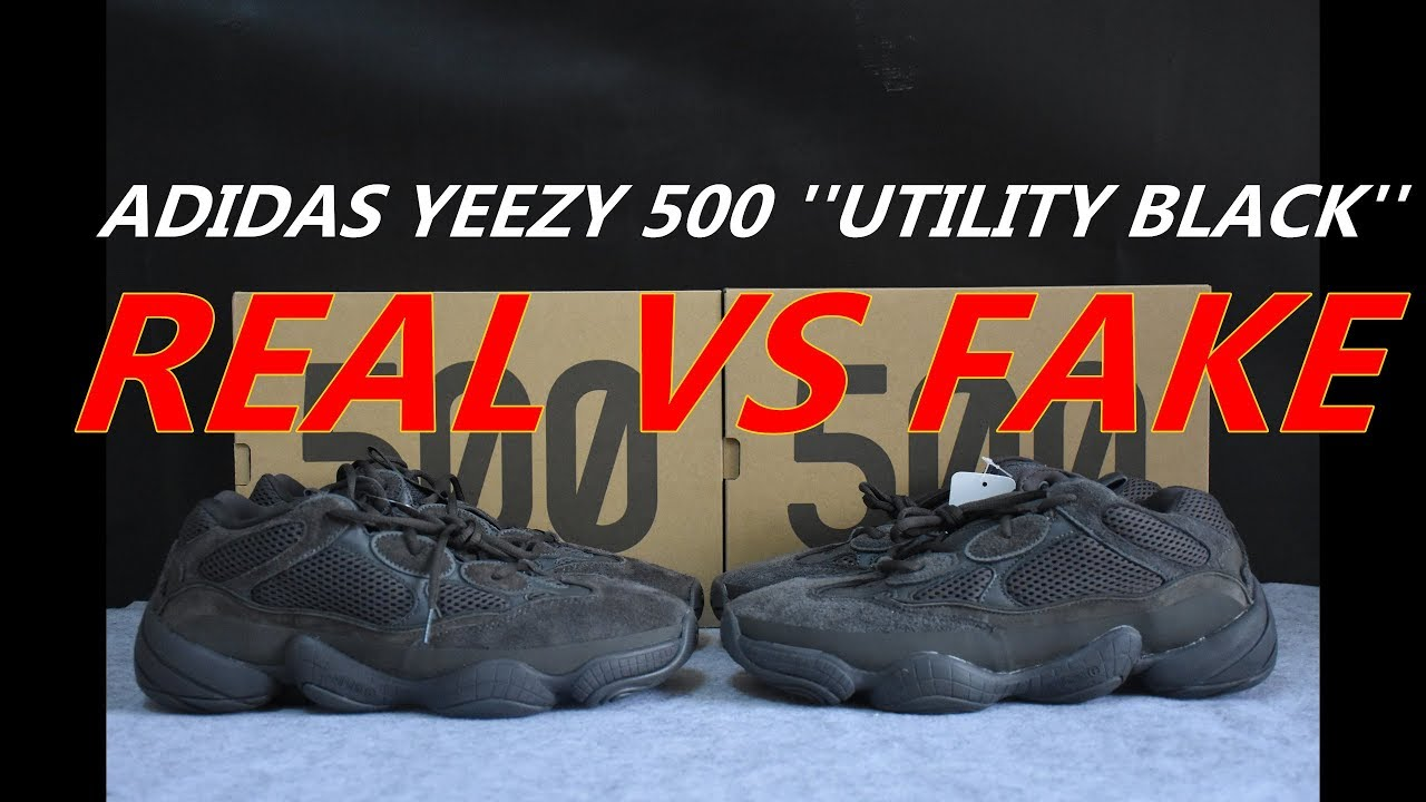 9b24b5506d6c9 REAL VS FAKE Adidas YEEZY 500 Utility Black Detailed Comparison ...