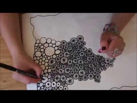 Zentangle avec des cercles mandala dessin facile youtube - Mandala facile ...