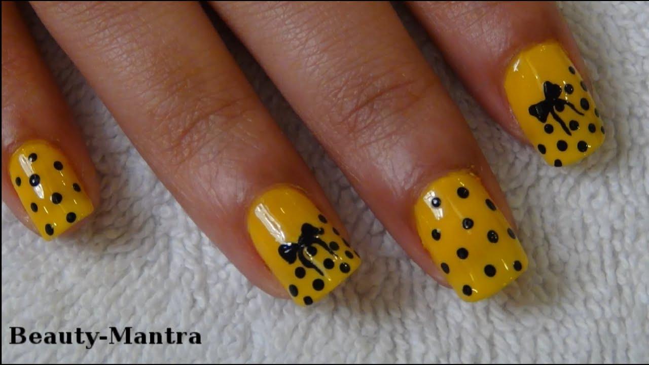 Yellow Bow Nail Art Design For Medium Nails Youtube