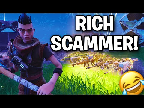 Spoiled RICH KID!! Scams himself 😂 (Scammer Get Scammed) Fortnite Save The World