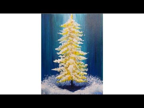 Cotton Swab Painting Technique Golden Pine Tree EASY  Acrylic tutorial #LoveWinterArt2017