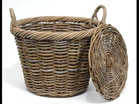 Wicker Basket With Lid And Handle | Woven Storage Basket Collection