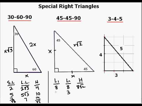 Worksheets Special Right Triangles 30 60 90 Worksheet Answers special right triangles with videos worksheets solutions activities
