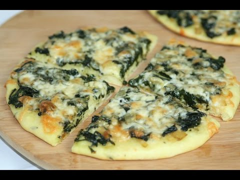 pizza-aux-Épinards-&-fromage---spinach-&-cheese-pizza---بيتزا-بالسبانخ