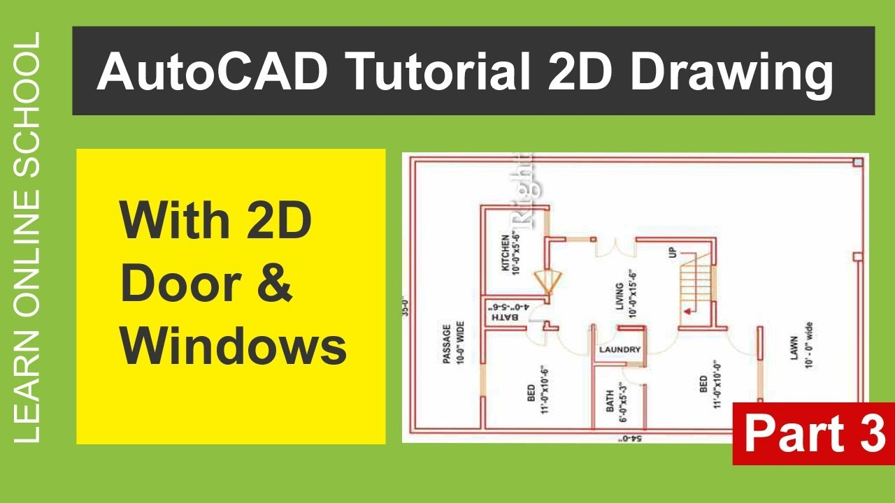 AutoCAD Tutorial with 7 Marla 2D drawing ( Doors and Windows ) Part 3