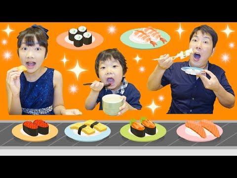 ★お寿司屋さん!「何皿食べれるかな??」★Conveyor belt sushi★