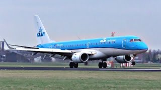 ULTRA SMOOTH EMBRAER LANDING! KLM Embraer ERJ-190 at windy Amsterdam Schiphol Airport