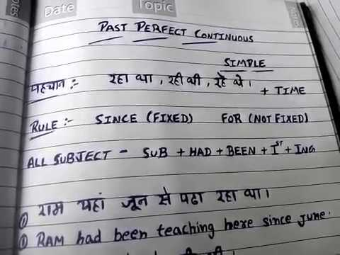 1-Past perfect continuous tense in hindi | simple past perfect continuous  tense in hindi