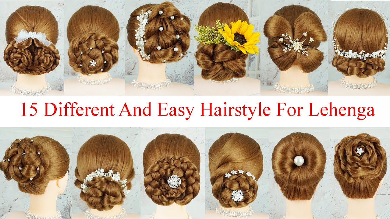 15 Different And Easy Hairstyle For Lehenga | Unique Hairstyle For Wedding And Party | Braids French