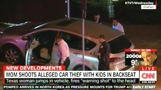 Mom Stops Car Thief Driving Away With Her Kids By Shooting Him In The Head!