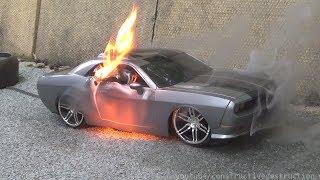 RC Car Burnout Ends In Flames || RC Car Destruction