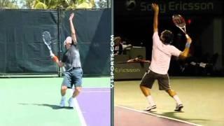 Большой теннис Видео урок Подача топ спин Федерер Надаль Джокович 2