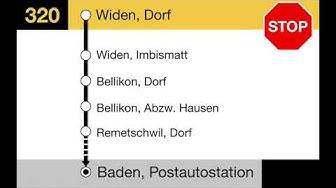 PostAuto Ansagen - 320 Berikon-Widen-Baden