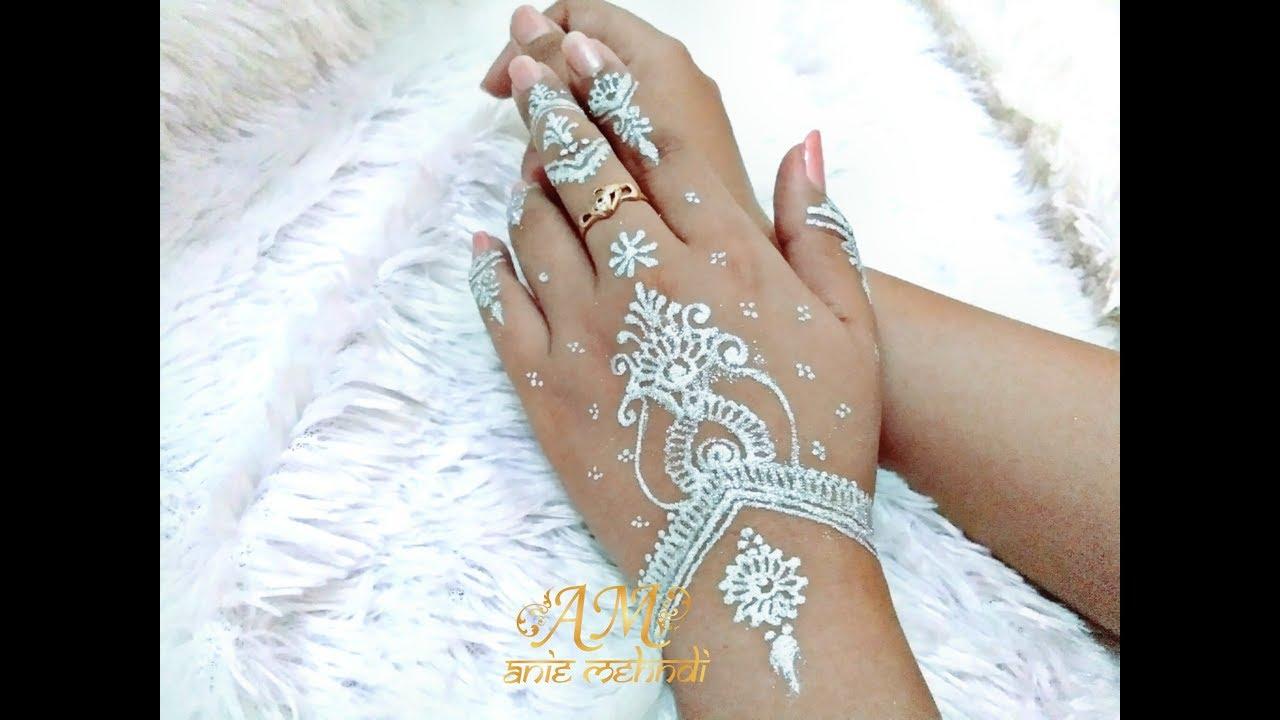 Simple White Henna Design With Glitter Easy Diy Henna 64 Youtube