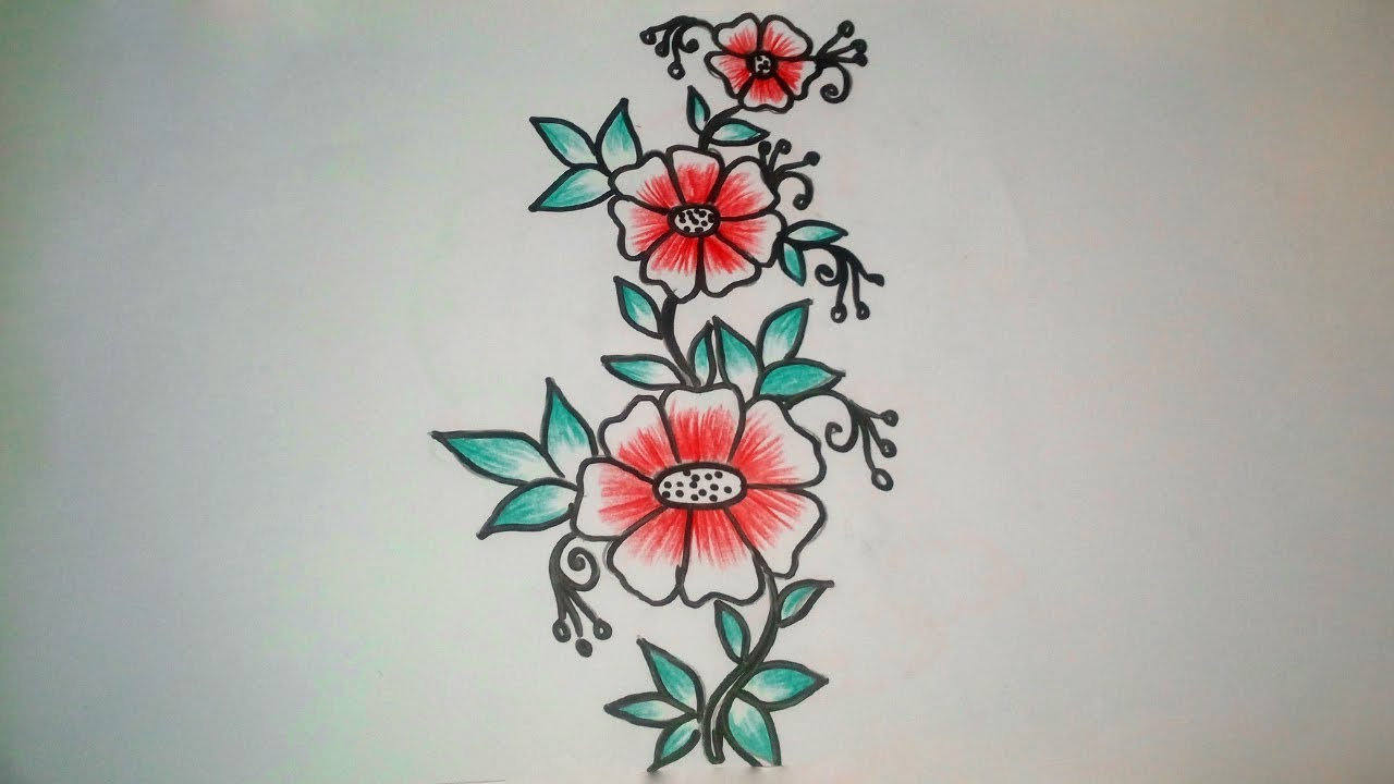 How To Draw A Flower Designs Simple Flower Designs Drawing With Color Pencil Youtube