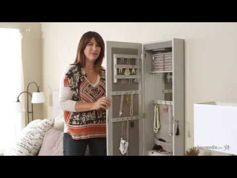 Lighted Locking Quatrefoil Wall Mount Jewelry Armoire - High Gloss Gray - Product Review Video