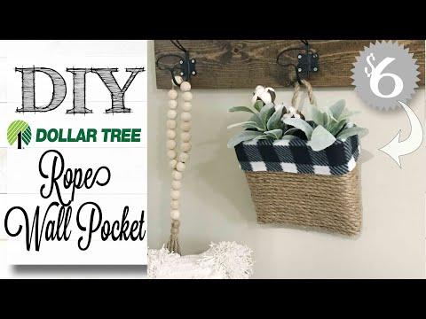 DIY Dollar Tree Farmhouse Decor | WALL POCKET