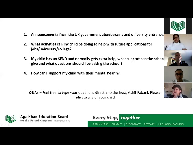 Secondary Webinar: Q&A Session on School Closures 5 April 2020 - AKEB