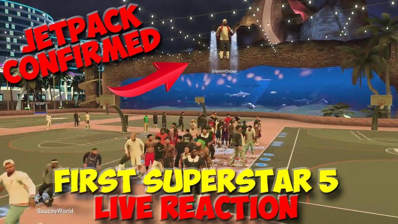 Download FIRST SUPERSTAR 5 LIVE REACTION !! FLYING JETPACK AROUND THE PARK NBA 2K17